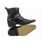 Gringos EL-MACHO Mens Harness Leather Cowboy Boots Black