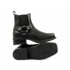 Gringos HARLEY Mens Leather Ankle Biker Cowboy Boots Black