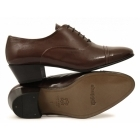 Shuperb DIEGO Mens Soft Leather Lace Up Cuban Heel Oxford Shoes Tan