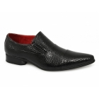 Rossellini LINO Mens Reptile Styled Slip-On Shoes Black