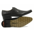 Front RIPLEY Mens Leather Perforated Lace-Up Shoes Black