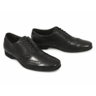 Front LAGOON Mens Perforated Leather Brogue Shoes Black