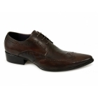 Gucinari AREZZO Mens Leather Lace Up Cuban Heel Shoes Brown