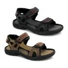 PDQ ROLAND Mens Faux Suede Triple Velcro Sports Sandals Brown