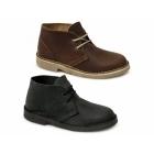 Roamers DARA Unisex Leather Padded Heel Desert Boots Brown
