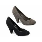 Carlton London MINERVA Ladies Faux Suede High Heels Shoes Black
