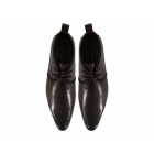 Front HALLAND Mens Leather Lace-Up Chukka Boots Brown
