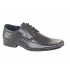 Goor MICAH Mens Faux Leather Chisel Toe Gibson Shoes Black