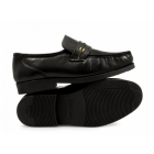 Tycoons BARRIE Mens Leather Extra Wide Fit Moccasins Black