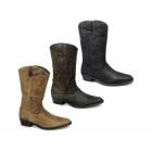 Wrangler TEXAS HI Mens Calf Length Leather Cowboy Boots Black