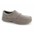 Dr Keller TEXAS Mens Leather Touch Fasten Wide Fit Shoes Taupe