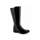 Heart & Sole LAURA Ladies Faux Patent Knee High Riding Boots Black