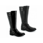 Heart & Sole LAURA Ladies Faux Leather Knee High Riding Boots Black