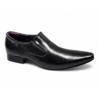Gucinari ROANNA Mens Leather Slip-On Pointed Shoes Black
