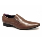 Gucinari ROANNA Mens Leather Slip-On Pointed Shoes Tan