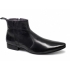 Gucinari ANDREAS Mens Leather Zip Pointed Boots Black