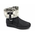 Dr Keller GRACE Ladies Faux Fur Warm Buckle Zip Winter Boots Black