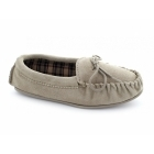 Mokkers AMANDA Ladies Suede Moccasin Slippers Taupe