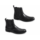 Lucini JENSEN Mens Leather Brogue Chelsea Boots Black