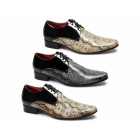 Rossellini RETELINO Mens Faux Snakeskin Patent Shoes Black/Beige