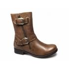 Barratts HONMANBY Ladies Leather Buckle Zip Biker Boots Brown