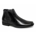 Goor MARCEL Mens Faux Leather Chisel Toe Chelsea Boots Black