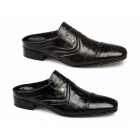 Shuperb LAZIO Mens Scaly Ostrich Leather Half Shoes Black