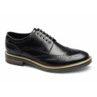 Base London WOBURN Mens Leather Brogue Shoes Hi Shine Black