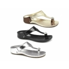 Carlton London CHRISTIE Ladies Diamante Toe Post Sandals Black