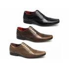 Red Tape BRANSTON Mens Leather Brogue Chiseled Shoes Brown