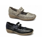 Rieker 41372-63 Ladies Leather Touch Fasten Mary Jane Shoes Beige