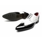 Rossellini ROBERTO Mens Funky Pointed Patent Shoes Black And White