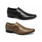 Front SULTAN Mens Leather Pointed Slip-On Shoes Black