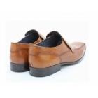 Base London BIRKDALE Mens Leather Tramline Loafers Waxy Tan