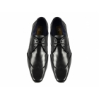 PSL SETH Mens Soft Leather Lace-Up Wingtip Shoes Black