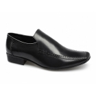 PSL CHRISTOPHER Mens Leather Slip On Moccasin Loafers Black