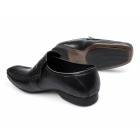 PSL HOPE Mens Leather Apron Driving Loafers Black