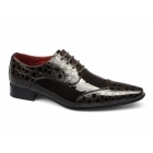 Rossellini FELINI ZX Mens Patent Faux Leather Scaly Shoes Brown