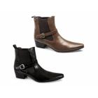 Gucinari FERNANDO Mens Cuban Heel Pointed Winklepicker Buckle Boots Black