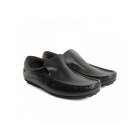 Base London HERITAGE Mens Crazy Leather Slip On Loafers Black