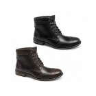 Red Tape NANT Mens Leather Brogue Derby Boots Ford Nero Black