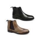 Red Tape BOYNE Mens Leather Brogue Chelsea Boots Tan