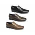 Ikon ENGLISH Mens Leather Slip On Tramline Shoes Black