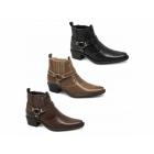 US Brass EASTWOOD Mens Harness Ankle Cowboy Boots Black