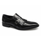 Gucinari TIAGO Mens Leather Buckle Brogue Fringe Shoes Black