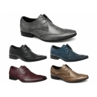 Front MILAN Mens Leather Chisel Toe Wingtip Shoes Grey