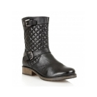 Lotus CONROE Ladies Leather Quilted Mid-Calf Boots Black