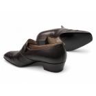 Paco Milan FRANCISCO Mens Leather Pleated Cuban Heel Shoes Dark Brown