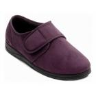Padders CHARLES Mens Microsuede Velcro Wide (G) Fitting Slippers Burgundy