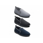Padders LEWIS Mens Microsuede Wide (G) Fitting Full Slippers Grey